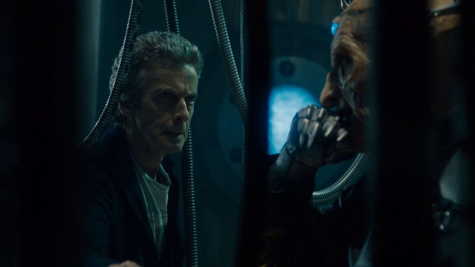 The Doctor (Peter Capaldi) and Davros (Julian Bleach) - Doctor Who Series 9 Ep1 - the Magicians Apprentice (c) BBC