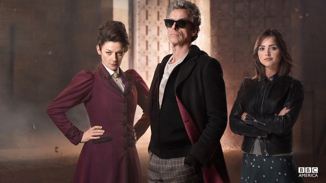 Missy (Michele Gomez), The Doctor (Peter Capaldi) & Clara Oswald (Jenna Coleman) – Doctor Who – The Magician's Apprentice (c) BBC