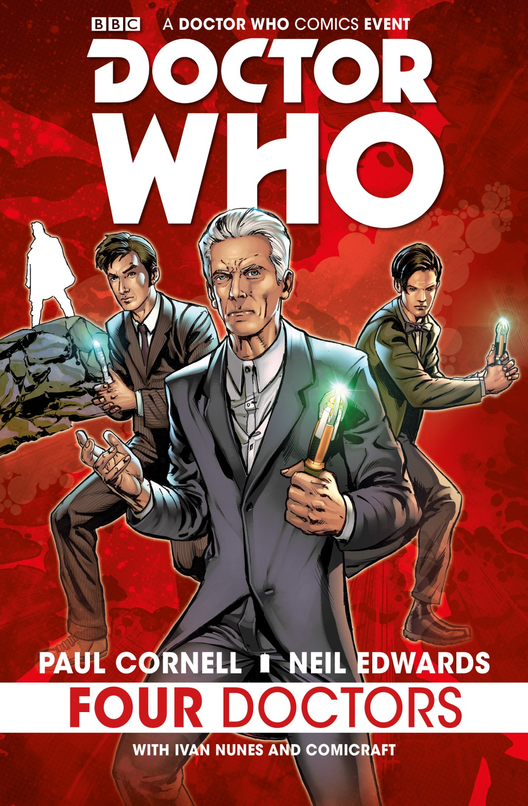 Titan Comics - Doctor Who: The Four Doctors Hardback Cover by Neil Edwards
