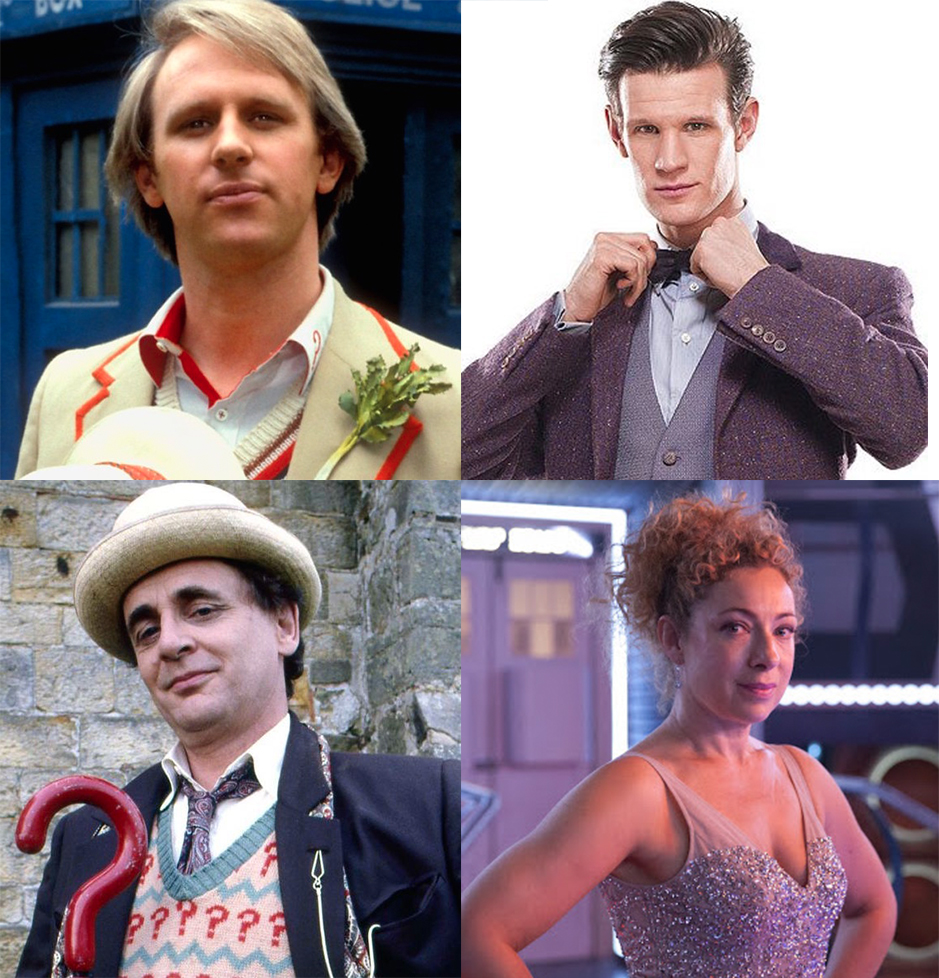 Mat Smith (Eleventh Doctor) , Alex Kingston (River Song), 5th Doctor (Peter Davison) and 7th Doctor (Sylvester McCoy)