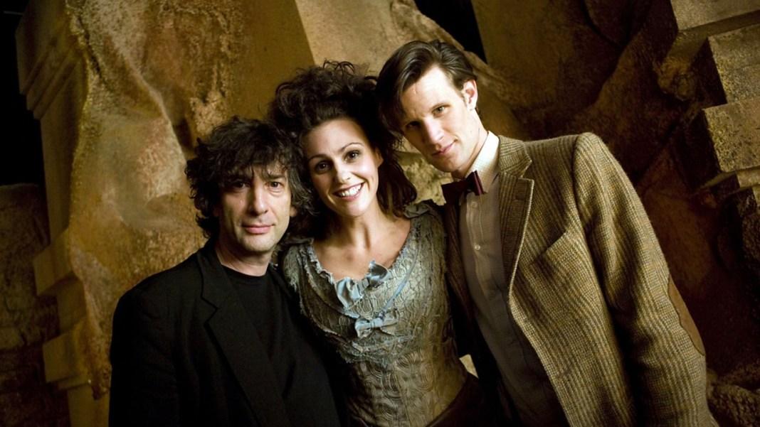 Neil Gaiman, Suranne Jones and Mat Smith (c) BBC