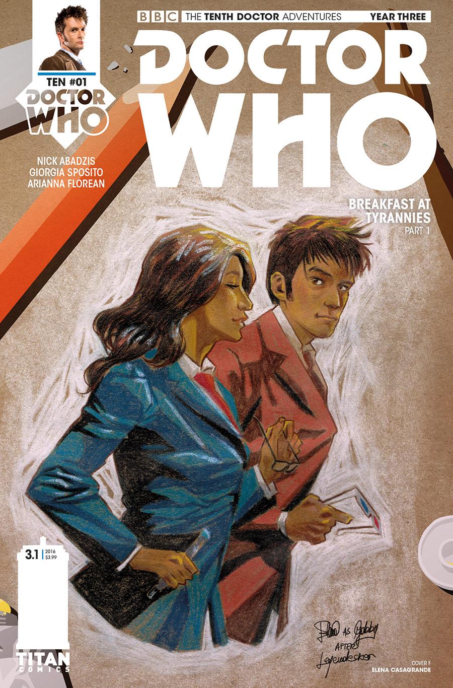 TITAN COMICS - TENTH DOCTOR YEAR 3 #1 - COVER F ELENA CASAGRANDE