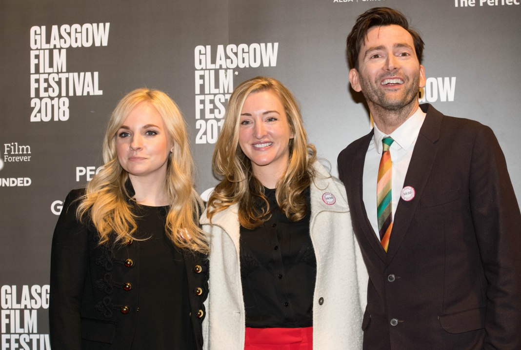 Producer Georgia Tennant, Director Daisy Aitkens and David Tennant 'You, Me and Him' film premiere, Glasgow, Scotland, UK - 25 Feb 2018 - Photo by Duncan Bryceland