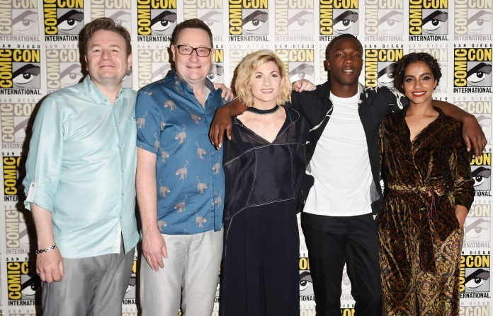 Matt Strevens, Chris Chibnall, Mandip Gill, Jodie Whittaker and Tosin Cole 'Doctor Who' TV show photocall, Comic-Con International, San Diego, USA - 19 Jul 2018 - Photo by Startraks Photo/REX/Shutterstock