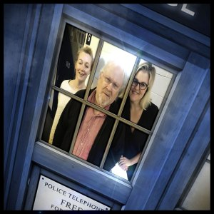 The Sixth Doctor (Colin Baker), Charlotte Pollard (India Fisher) and DI Patricia Menzies (Anna Hope)