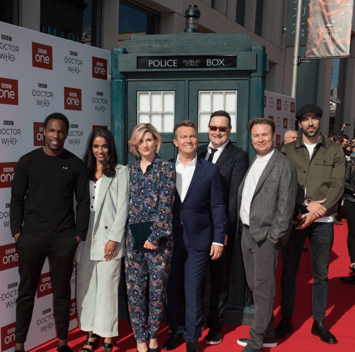 Doctor Who - Tosin Cole, Mandip Gill, Jodie Whittaker, Bradley Walsh, Chris Chibnall, Matt Strevens and Jamie Childs 'Doctor Who' TV show season 11 premiere, Sheffield, UK - 24 Sep 201 - Photo by James Gourley
