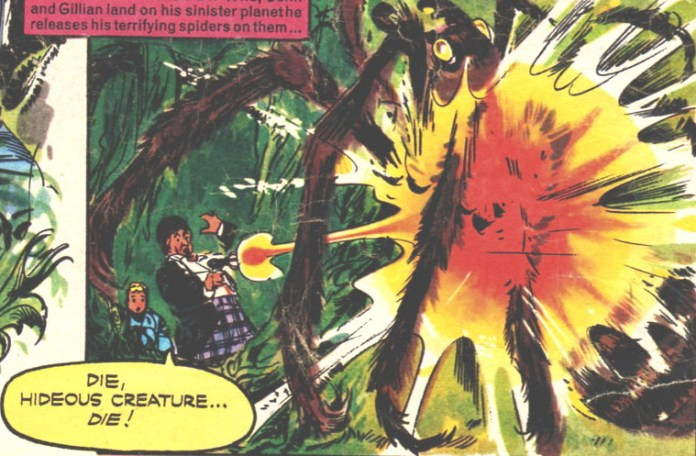 TV Comic #800 -- in which a gun toting Second Doctor blasts spiders as soon as he sees them... (c) Panini
