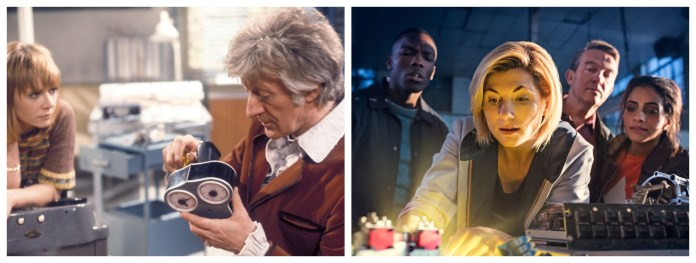The Doctor (Jon Pertwee, Jodie Whittaker) works in their lab to restore their travel ability alongside their assistants (Katy Manning, Tosin Cole, Bradley Walsh, Mandip Gill) (c) BBC