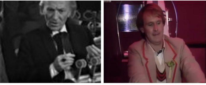 The Doctor (William Hartnell and Peter Davison) crash spaceships. (c) BBC