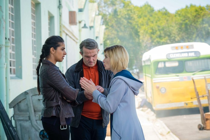 Doctor Who - Series 11 - Episode 3 - Rosa - Yaz (MANDIP GILL), Graham (BRADLEY WALSH), The Doctor (JODIE WHITTAKER) - (C) BBC / BBC Studios - Photographer: Coco Van Oppens