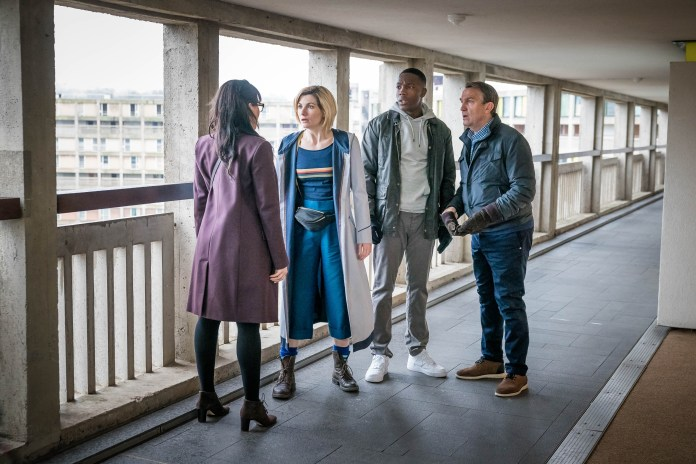 Doctor Who - Series 11- Ep 4 - Arachnids in the UK - Jade (TANYA FEAR), The Doctor (JODIE WHITTAKER), Ryan (TOSIN COLE), Graham (BRADLEY WALSH) - (c) BBC Studios