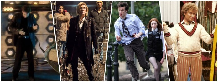 The Doctor (David Tennant, Jodie Whittaker, Matt Smith, Colin Baker) get used to their predecessors' costumes (c) BBC