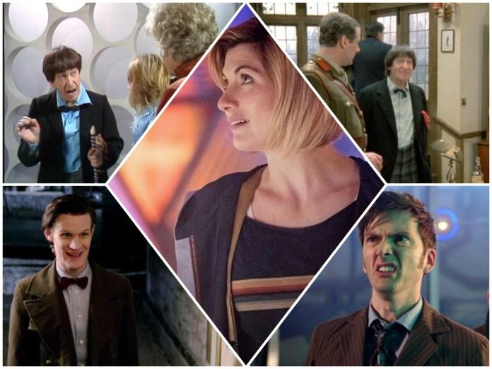 The Doctor (Patrick Troughton, David Tennant, Matt Smith, Jodie Whittaker) notice redecoration (c) BBC