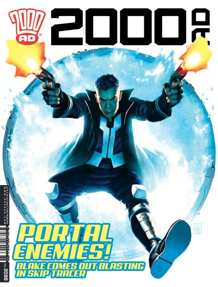 The cover to 2000ad Prog #2088, featuring James Peaty's creation 'Skip Tracer' (c) 2000ad