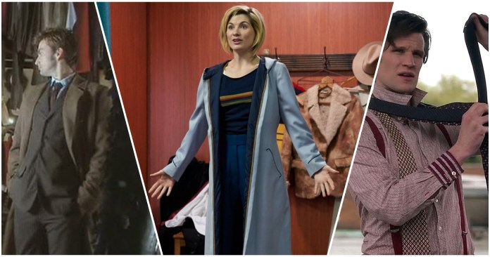 The Doctor (David Tennant, Jodie Whittaker, Matt Smith) obtain their new costumes. (c) BBC