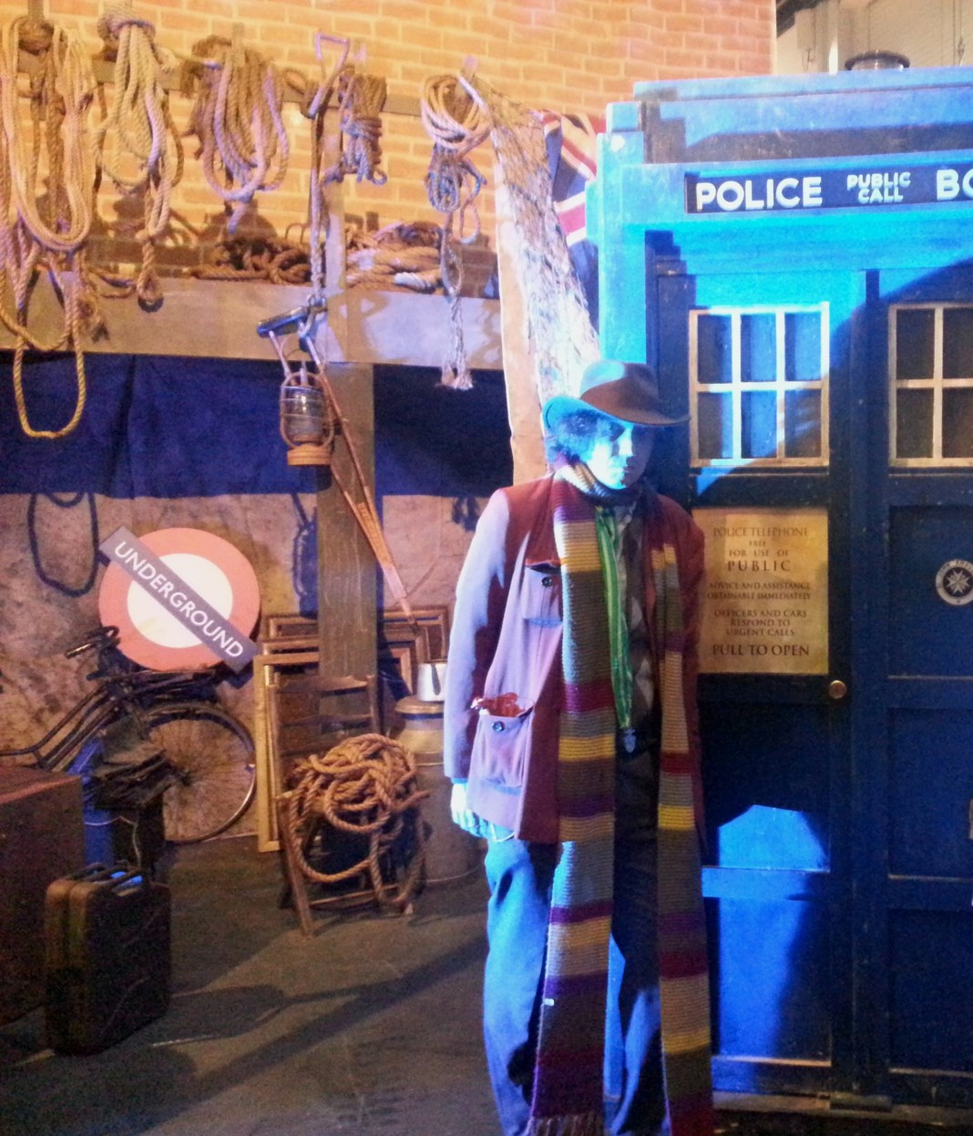 Peter with the Police Box and Junkyard set from An Adventure in Space and Time (c) Peter Nolan