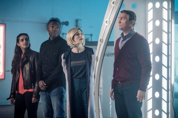 Yaz (Mandip Gill), Ryan (Tosin Cole), the Doctor (Jodie Whittaker) and Graham (Bradley Walsh) in Kerblam! (c) BBC Studios