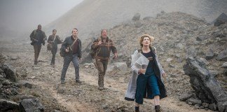 Doctor Who: The Battle of Ranskoor Av Kolos - Ryan (Tosin Cole), Yaz (Mandip Gill), Graham (Bradley Walsh), (Mark Addy) and The Doctor (Jodie Whittaker) (c) BBC/BBC Studios