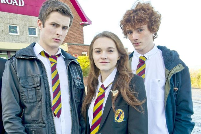 In Waterloo Road's tenth season, Floyd (Leo Flanagan) is disturbed by just how close his sister Tiffany (Sammy Oliver) and stepbrother Justin (Max Bowden) have gotten (c) BBC Scotland/Shed Productions