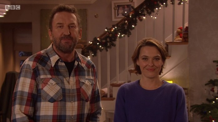 Not Going Out - Christmas Special 2018 - Ding Dong Merrily On Live - Lee (LEE MACK), Lucy (SALLY BRETTON) - (C) BBC/Avalon