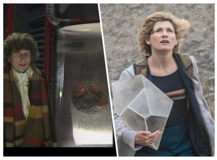 The Doctor (Tom Baker and Jodie Whittaker) encounters stolen planets crushed to super-dense rocks held in stasis (c) BBC Studios