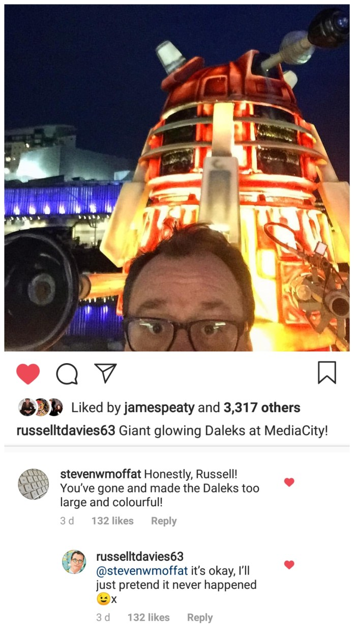 In Christmas 2018, Davies and Moffat had fun at the expense of the New Paradigm Daleks. Photo (c) Russell T Davies