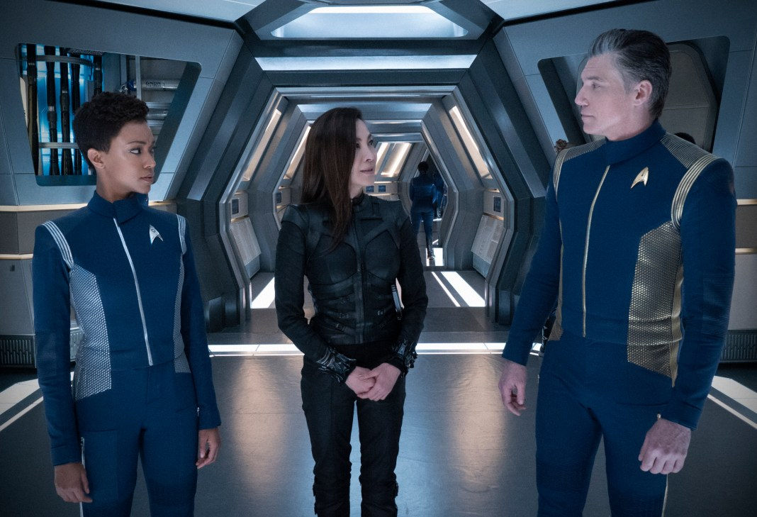 Ep #205 - Pictured (l-r): Sonequa Martin-Green as Michael Burnham; Michelle Yeoh as Captain Philippa Georgiou; Anson Mount as Captain Pike; of the CBS All Access series STAR TREK: DISCOVERY. Photo Cr: Michael Gibson/CBS © 2018 CBS Interactive. All Rights Reserved.