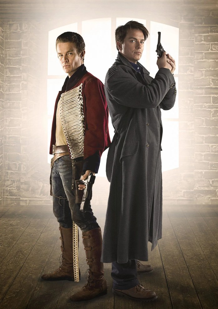Captain John Hart (James Marsters) and Captain Jack Harkness (John Barrowman)