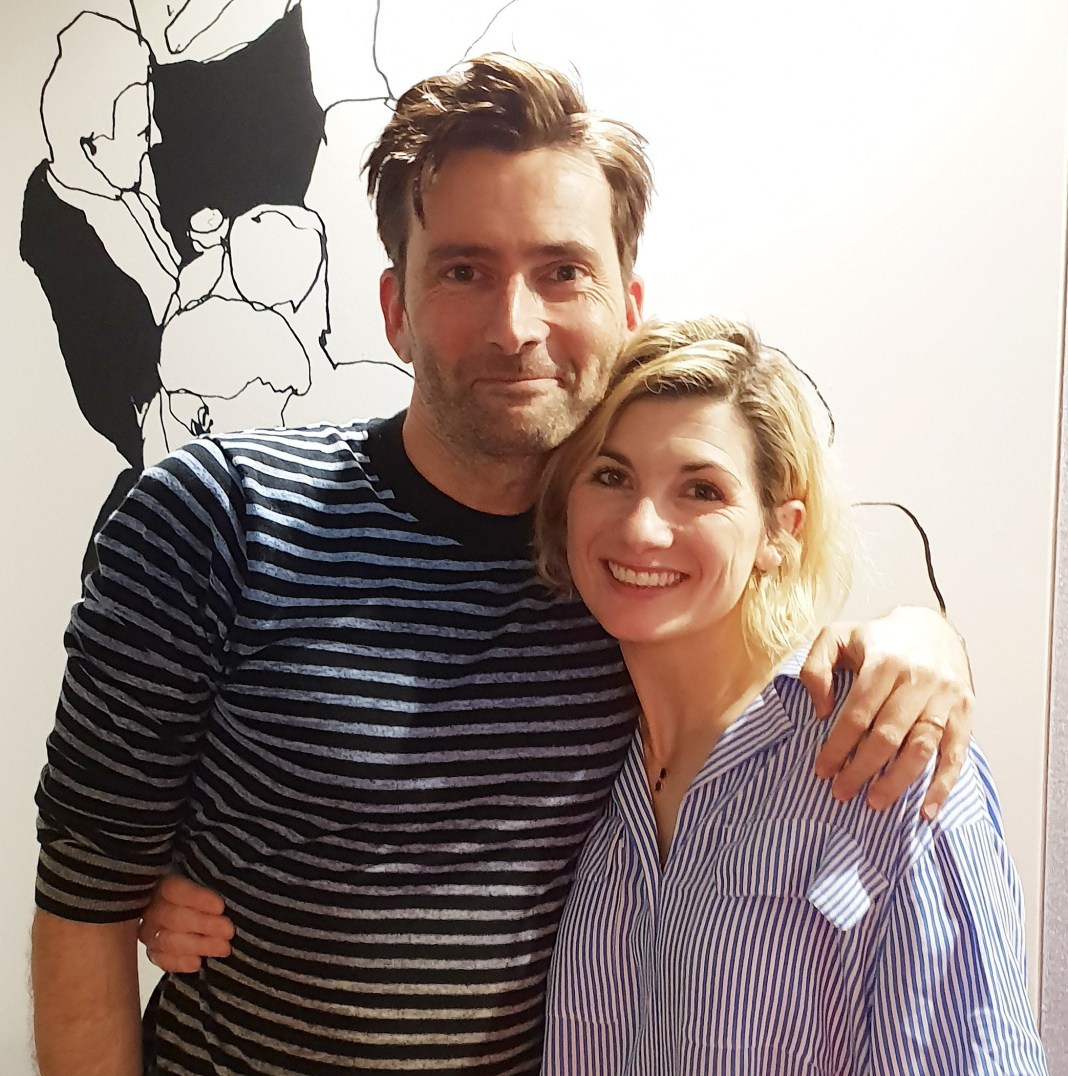 Doctor Who stars David Tennant and Jodie Whittaker together for the recording of David Tennant Does a Podcast with... Jodie Whittaker earlier this year (c) Somethin Else and No Mystery Productions