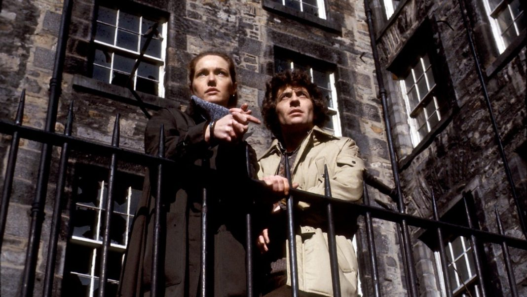 Doctor Who's Louise Jameson (Dr. Anne Reynolds) and James Hazeldine (Tom Crane) in the original series of The Omega Factor (c) BBC Studios