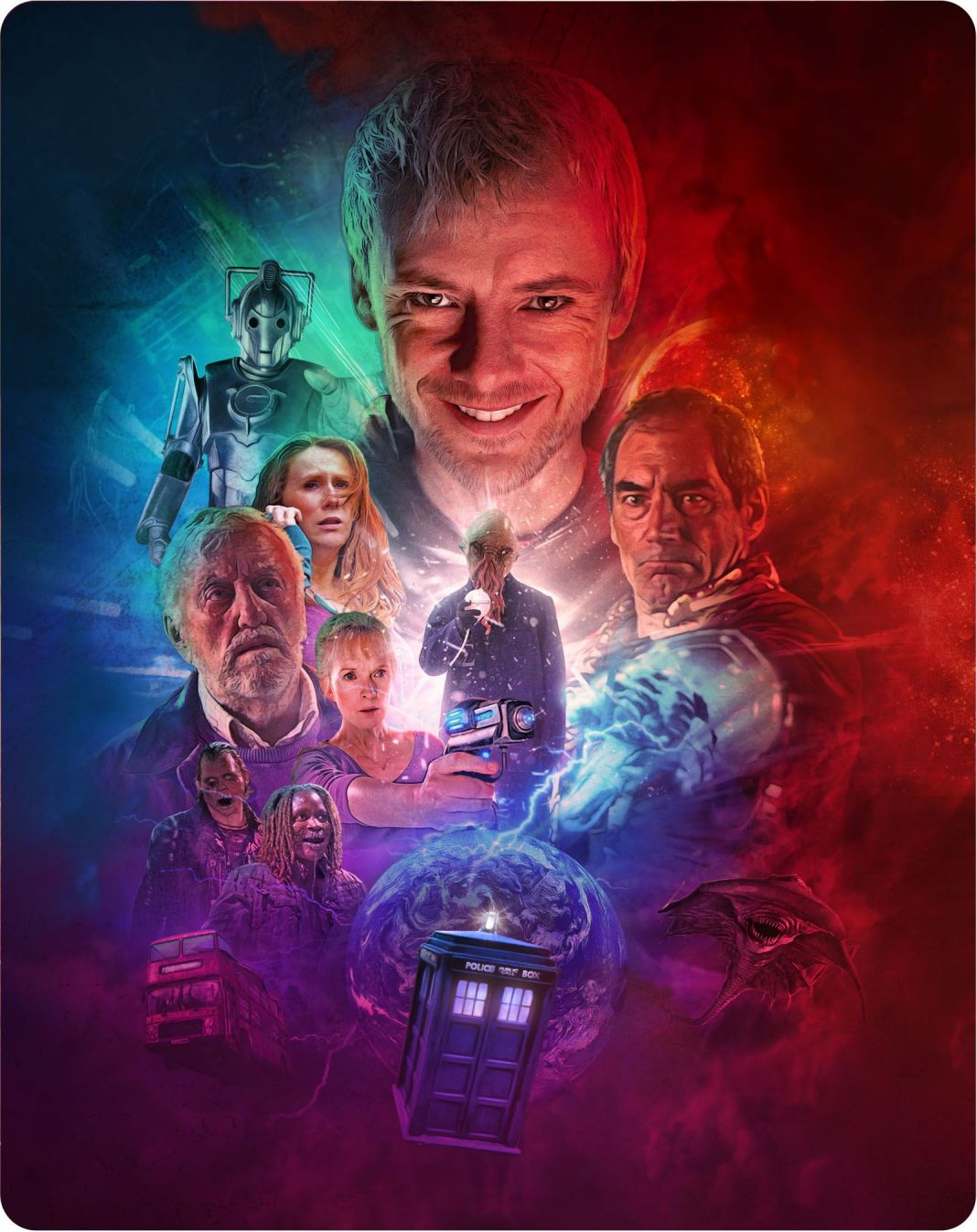 Back cover to Doctor Who: The Specials Blu-Ray Steelbook. Art to Tom Webster (c) BBC Studios