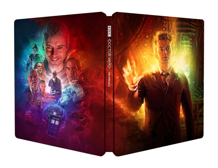 The Doctor Who: The Specials Steelbook design, featuring art by Tom Webster (c) BBC Studios