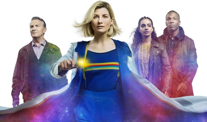 (l-r) Graham (Bradley Walsh), the Doctor (Jodie Whittaker), Yaz (Mandip Gill), and Ryan (Tosin Cole) return for Doctor Who Series 12 (c) BBC Studios