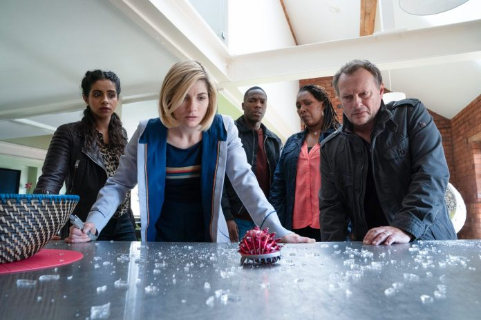 Yaz (MANDIP GILL), The Doctor (JODIE WHITTAKER), Ryan (TOSIN COLE), Ruth Clayton (JO MARTIN), Lee Clayton (Neil Stuke) - (C) BBC - Photographer: Ben Blackall Doctor Who Series 12 Fugitive of the Judoon