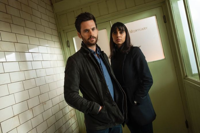 Anjli Mohindra as DC Josie Chancellor, alongside Tom Riley as DI Will Wagstaffe in Dark Heart (c) Silverprint Pictures