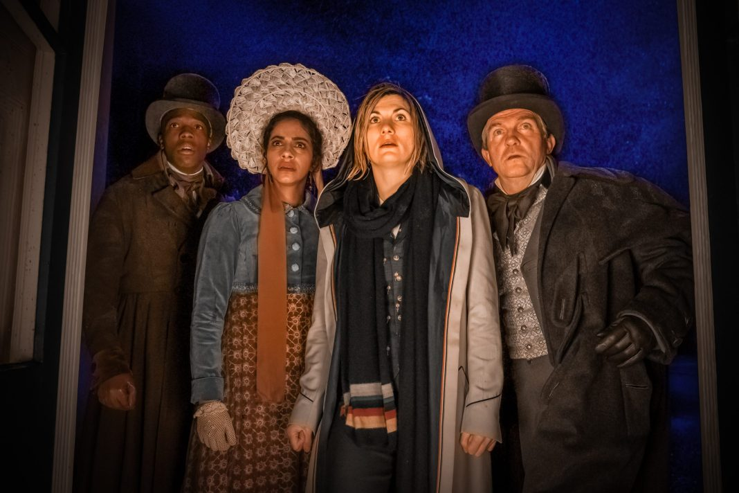 Doctor Who - S12E08- The Haunting of Villa Diodati - Tosin Cole as Ryan, Mandip Gill as Yaz, Jodie Whittaker as The Doctor, Bradley Walsh as Graham - Photo Credit: Ben Blackall/BBC Studios/BBC America