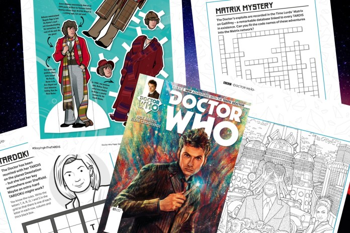This week's Staying in the TARDIS included free comics, audios, and printable puzzles (c) BBC Books/Titan Comics Lockdown