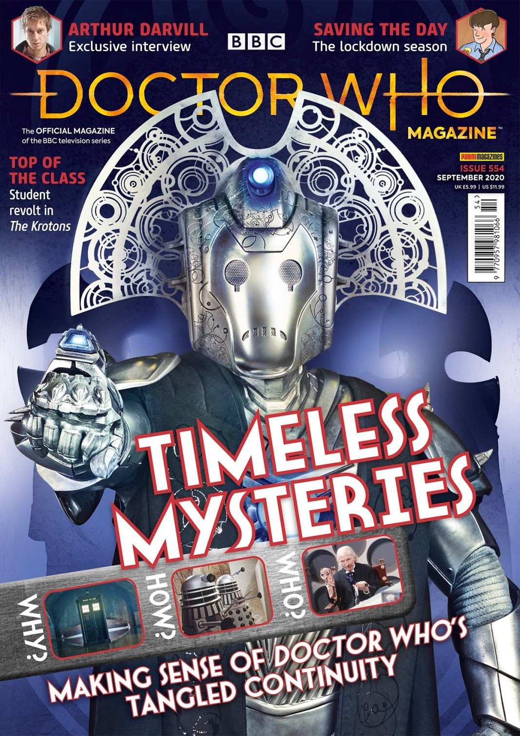 The cover to Doctor Who Magazine #554 (c) Panini The Timeless Children Time Lord Cyberman Time Lords Cybermen Cybermaster Cybermasters DWM