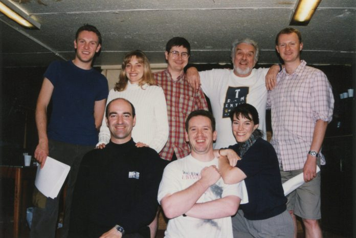 Want to feel old? This is the cast of Oh No It Isn't! in 1998. (l-r) Jonathan Brüün (Michael Dorn/Cute), Nicholas Briggs (Lt Prince/Prince Charming), Jo Castleton (Jayne Waspo/Bitchy), Alistair Lock (the Grel Master), Gary Russell (producer), Nicholas Courtney (Woolsey), Lisa Bowerman (Benny), and Mark Gatiss (the Grand Vizier) (c) Big Finish Productions Doctor Who The Brigadier Sherlock