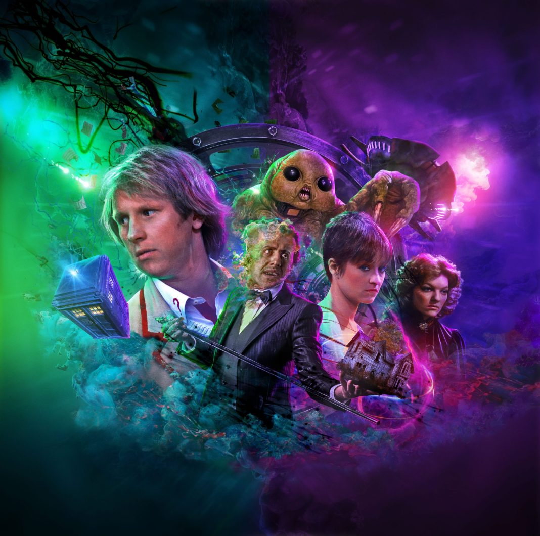 The cover to Doctor Who: Thin Time/Madquake. Art by Tom Webster (c) Big Finish Productions Fifth Doctor Tegan Nyssa TARDIS Slitheen textless