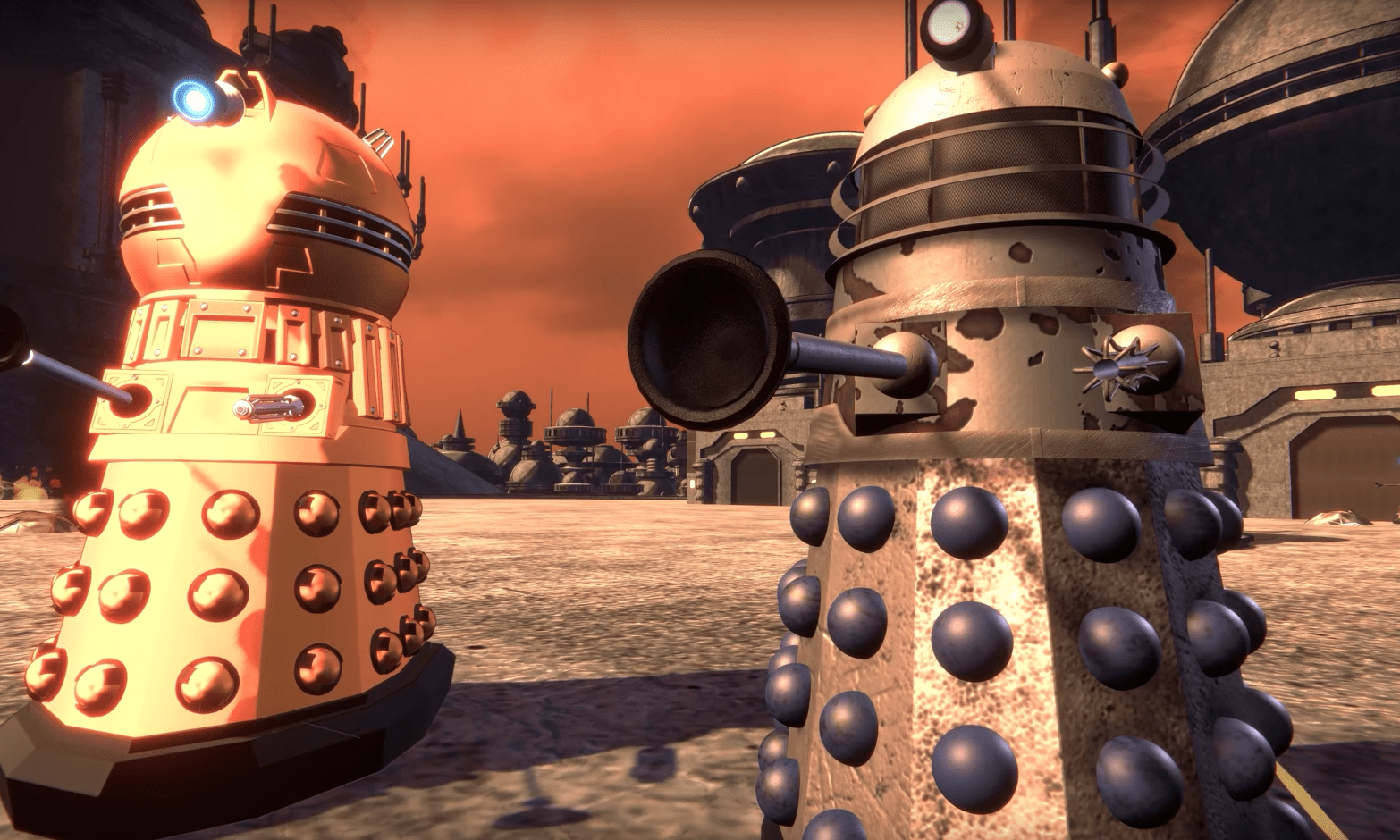 The last two Daleks in the universe return home to Skaro (c) BBC Studios Doctor Who Time Lord Victorious DALEKS! Day of Reckoning