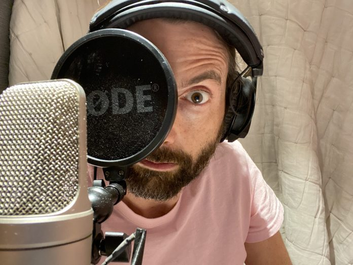 David Tennant recording Out of Time 2: Gates of Hell from his home studio for Big Finish. c) Big Finish Productions