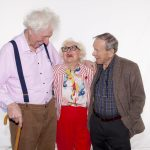 Tom Baker (The Doctor), and John Leeson (K9) with June Hudson, S17 costume designer and now actor (c) Big Finish Productions Doctor Who Fourth Doctor The Doomsday Contract