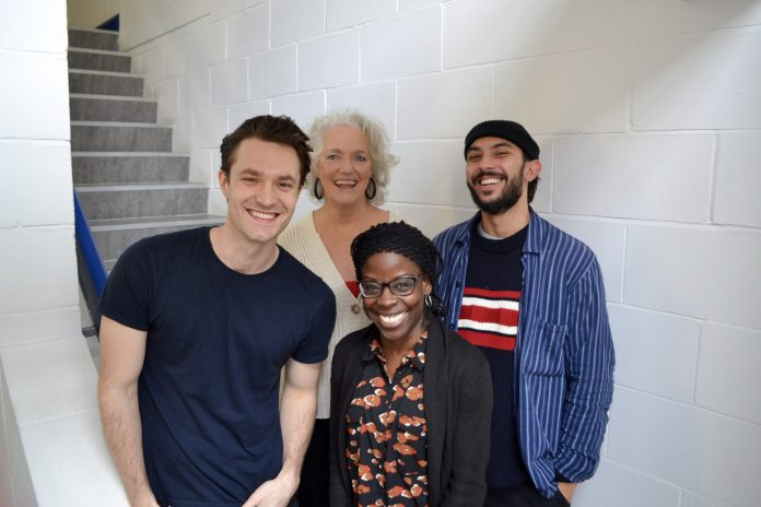 Steven Flynn (Fillius), Louise Jameson (Leela), Debbie Korley (Castine) and Samuel Gosrani (Eris) at the recording of Gallifrey: Time War 4 (c) Big Finish Doctor Who