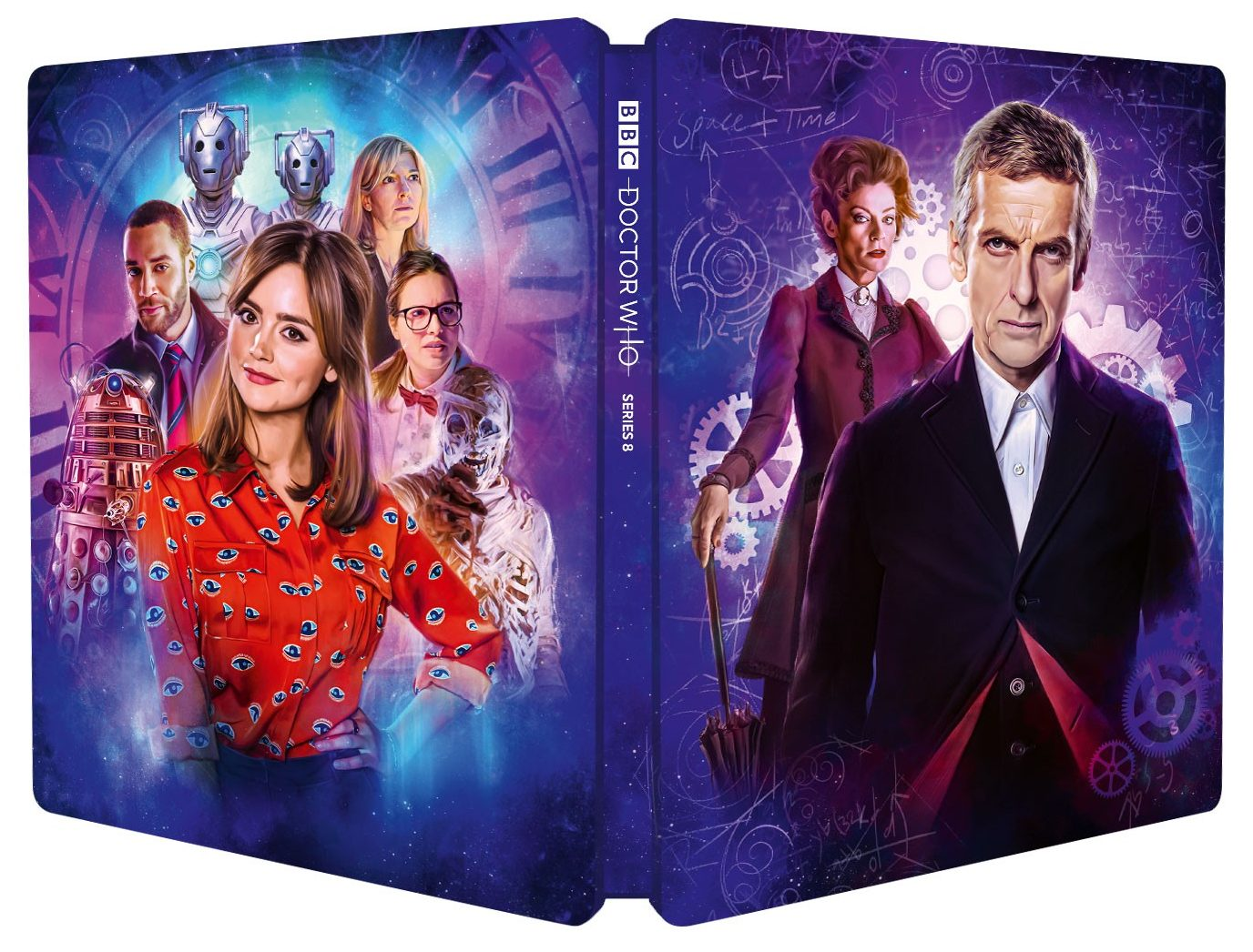Doctor Who Series 8 Steelbook. Cover by Sophie Cowdrey (c) BBC Studios Twelfth Doctor Clara Oswald Missy Michelle Gomez Peter Capaldi Jenna Coleman Blu-ray