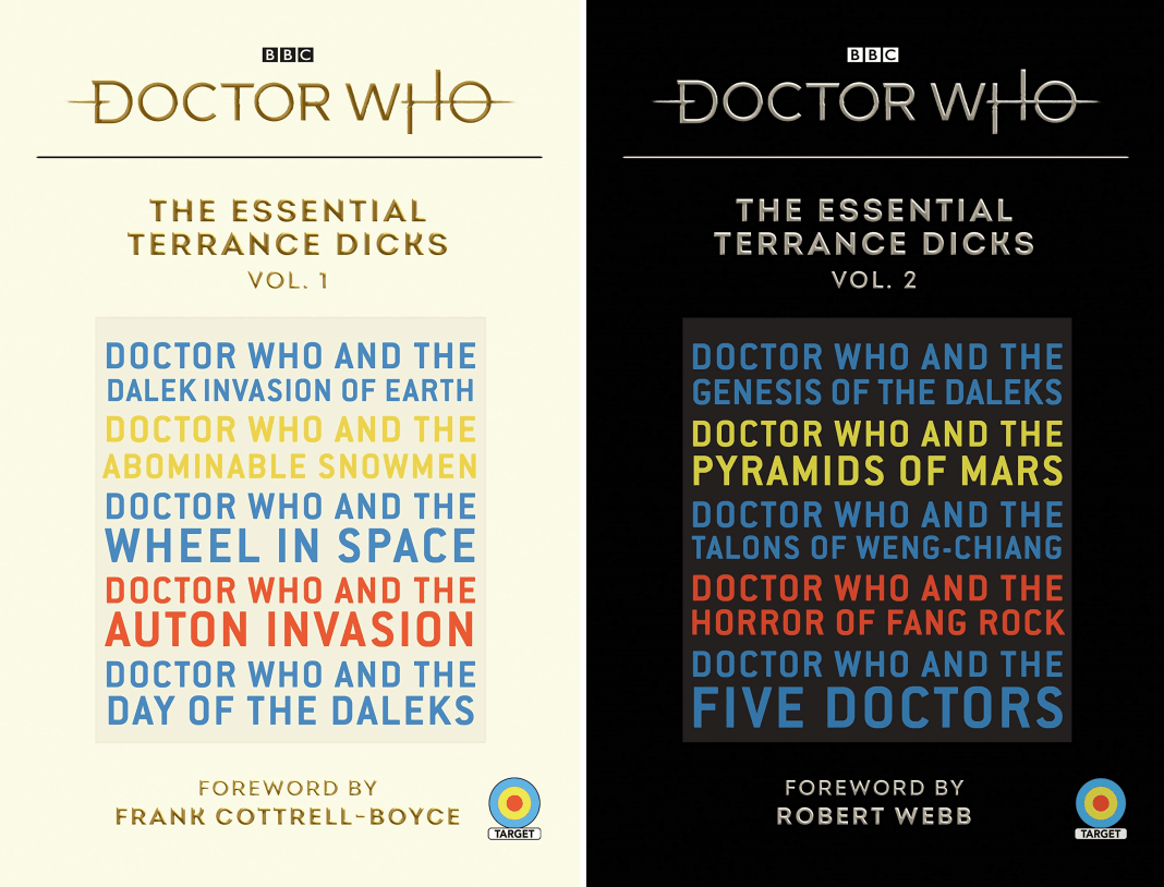 Vol.1 and Vol.2 of Doctor Who: The Essential Terrance Dicks (c) BBC Books Target Books Novelisation