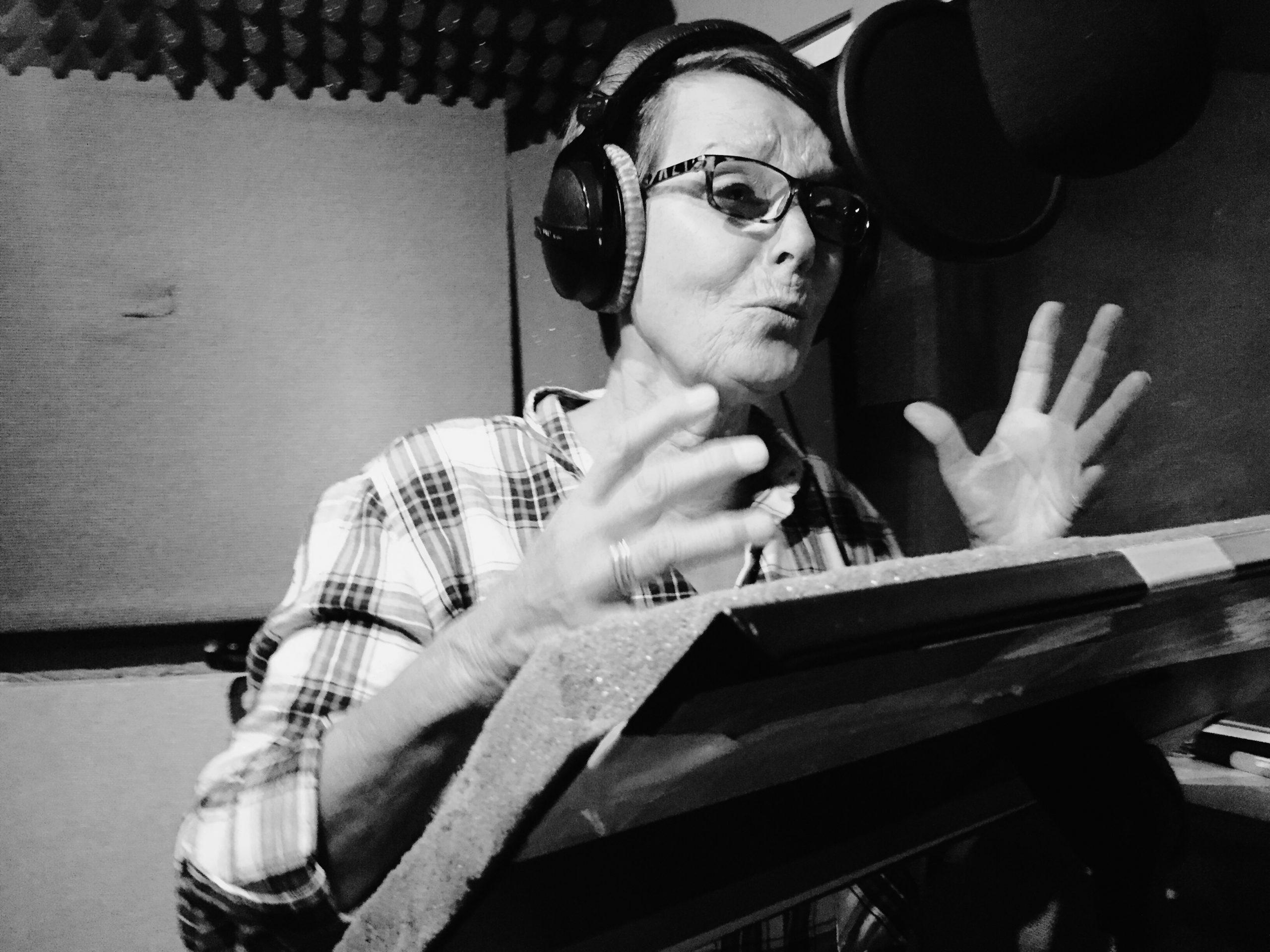 Carolyn Seymour recording for Big Finish (c) Big Finish Productions