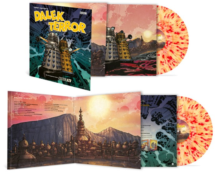"""Dalek Terror is pressed on stunning 2 x 140g """"Extermination Splatter"""" vinyl & presented in a gatefold sleeve with retro-style illustrations (c) Demon Records"""