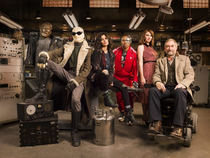 The gang of misfits at the heart of Doom Patrol includes Doctor Who veterans Jovian Wade (third from right) and Timothy Dalton (first from right). (c) Warner Brothers Entertainment Robotman Cliff Steele Larry Trainor Negative Man Crazy Jane Cyborg Vic Stone Rita Farr Elasti-Girl the Chief Niles Caulder Diane Guerrero April Bowlby