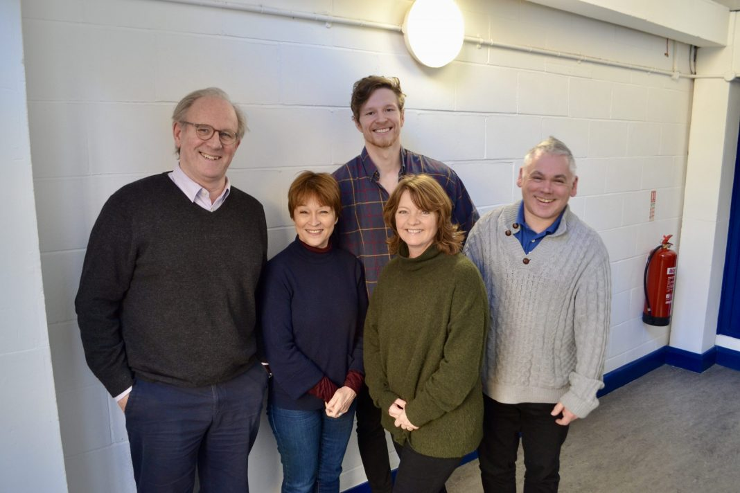 Peter Davison (The Doctor), Janet Fielding (Tegan), George Watkins (Marc), Sarah Sutton (Nyssa) and Matthew Waterhouse (Adric) at the recording of The Lost Resort (c) Big Finish Doctor Who
